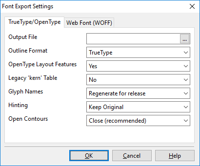 Opening, Creating and Saving Fonts > Export a Font