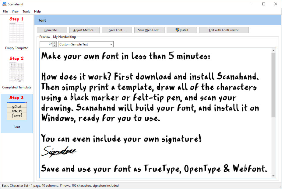 Scanahand for Windows - the handwriting and signature font